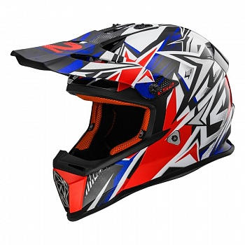 Шлем LS2 MX437 FAST STRONG White Blue Red
